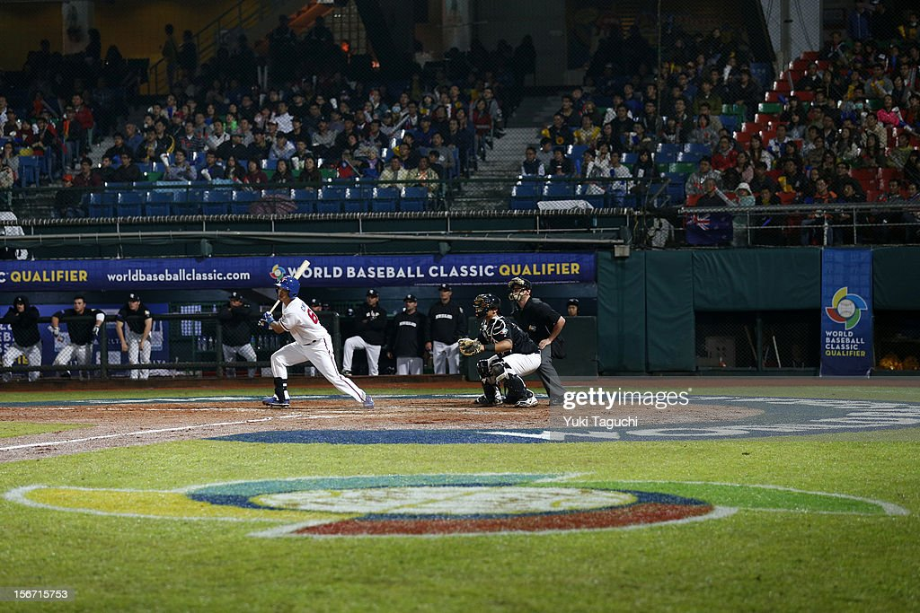 Chien-Ming Chang #66 of Team New Zealand hits a bases loaded three run RBI double in the bottom of the fourth inning during Game 6 of the 2013 World Baseball Classic Qualifier against Team Chinese Taipei at Xinzhuang Stadium in New Taipei City, Taiwan on Sunday, November 18, 2012.