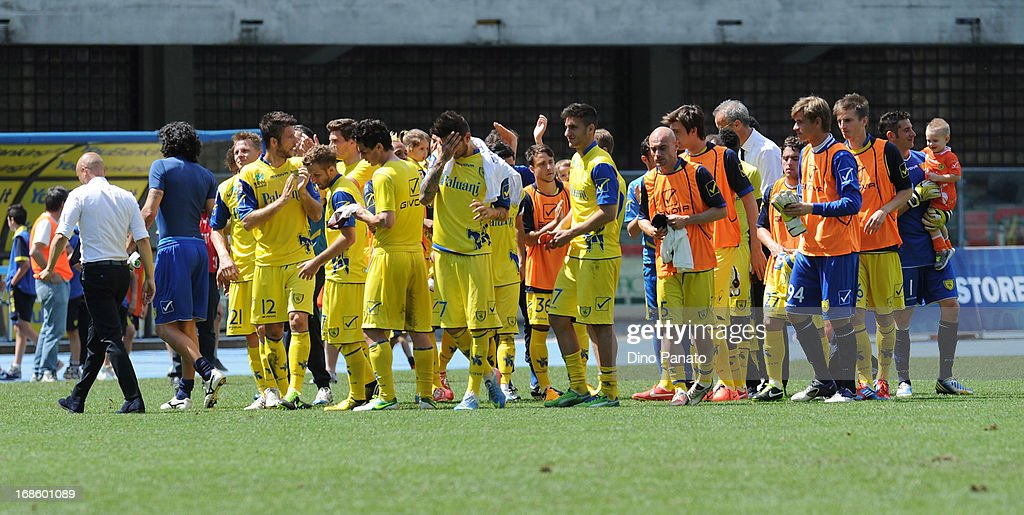 AC Chievo players celebrate after the Serie A match between AC Chievo Verona and Torino FC at Stadio Marc'Antonio Bentegodi on May 12, 2013 in Verona, Italy.