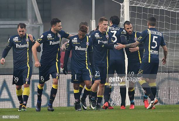 Chievo players celebrate Sergio Pellissier after penaltyduring the Serie A match between AC ChievoVerona and UC Sampdoria at Stadio Marc'Antonio...