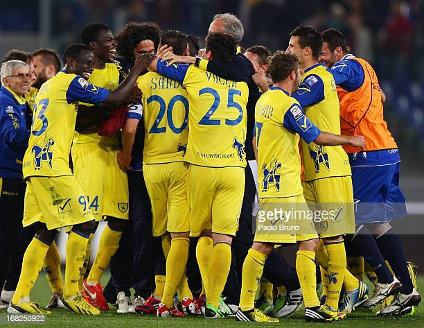 Chievo players celebrate the victory after the Serie A match between AS Roma and AC Chievo Verona at Stadio Olimpico on May 7 2013 in Rome Italy