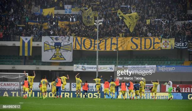 Chievo Team celebrates the victory during the Serie A match between AC Chievo Verona and Hellas Verona FC at Stadio Marc'Antonio Bentegodi on October...