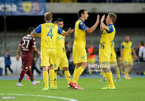 Chievo Verina players celebrate victory after the Serie A match between AC Chievo Verona and Torino FC at Stadio Marc'Antonio Bentegodi on September...