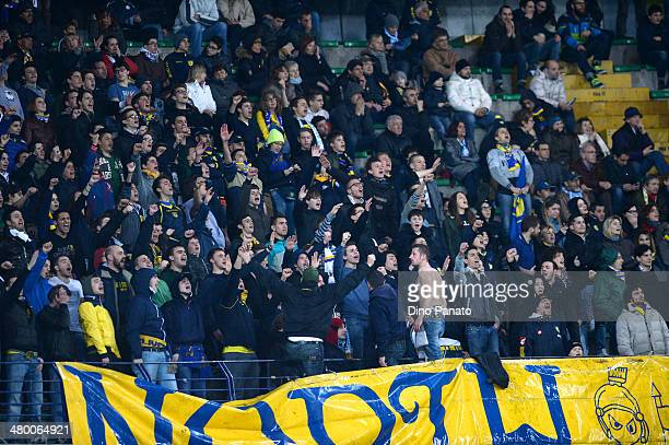Chievo Verona fans shows their support during the Serie A match between AC Chievo Verona and AS Roma at Stadio Marc'Antonio Bentegodi on March 22...