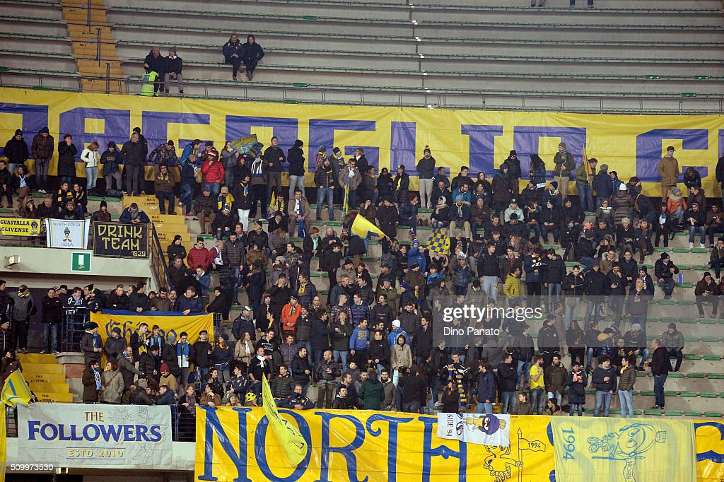 Chievo Verona fans shows their support during the Serie A match between AC Chievo Verona and US Sassuolo Calcio at Stadio Marc'Antonio Bentegodi on February 13, 2016 in Verona, Italy.