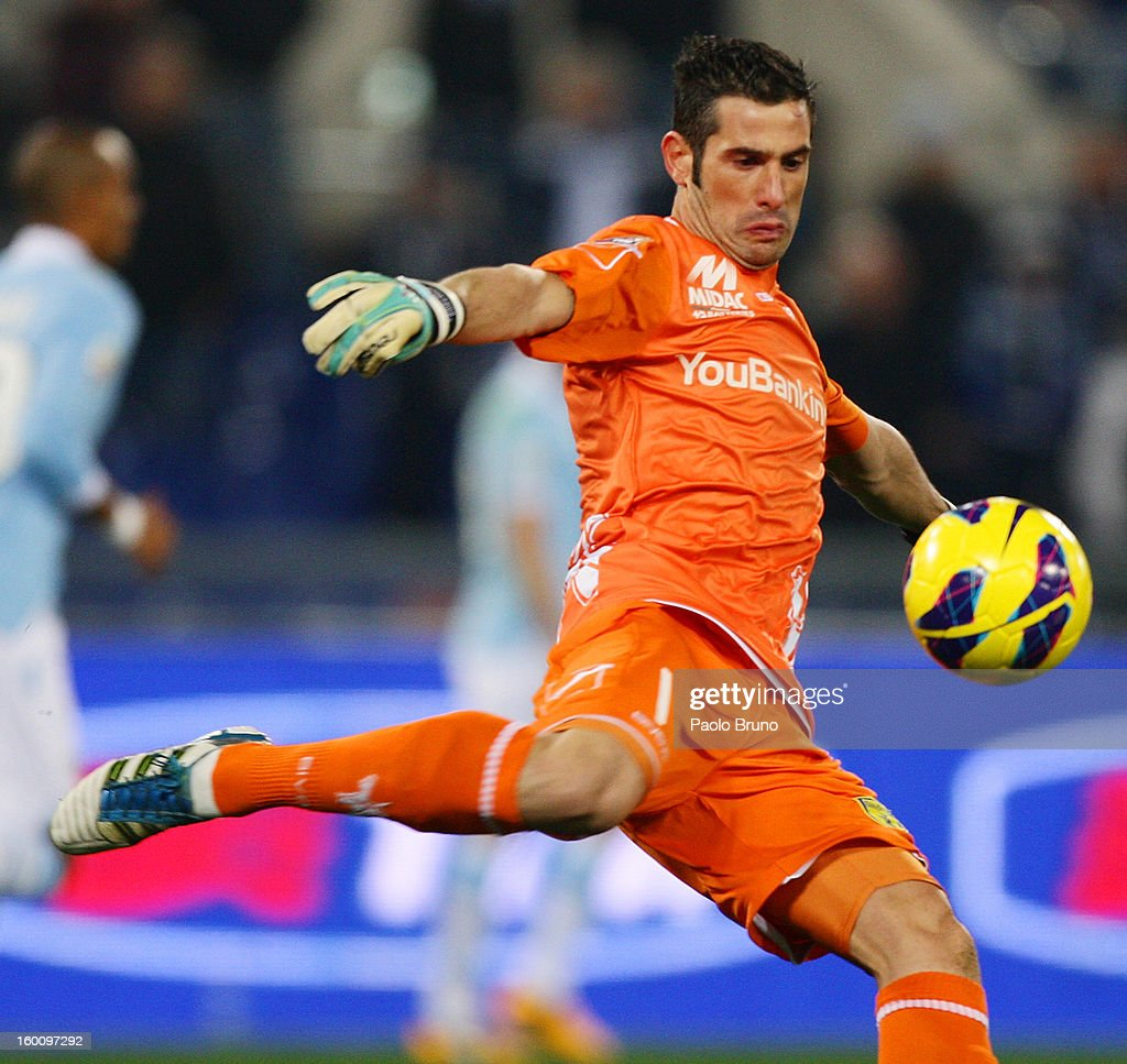 AC Chievo Verona goalkeeper Christian Puggioni in action during the Serie A match between S.S. Lazio and AC Chievo Verona at Stadio Olimpico on January 26, 2013 in Rome, Italy.
