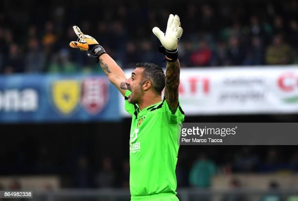 Chievo Verona goalkeeper Stefano Sorrentino gestures during the Serie A match between AC Chievo Verona and Hellas Verona FC at Stadio Marc'Antonio...