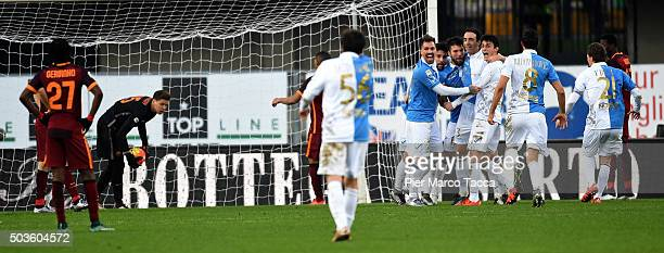 Chievo Verona team players celebrate goal to 22 during the Serie A match between AC Chievo Verona and AS Roma at Stadio Marc'Antonio Bentegodi on...