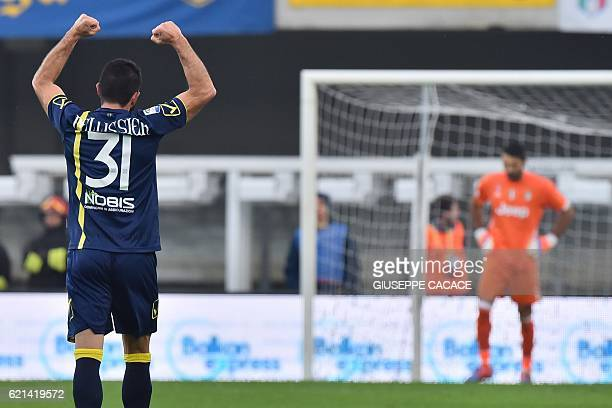 Chievo's forward from Italy Sergio Pellissier celebrates after scoring a goal during the Italian Serie A football match Chievo Verona vs Juventus at...