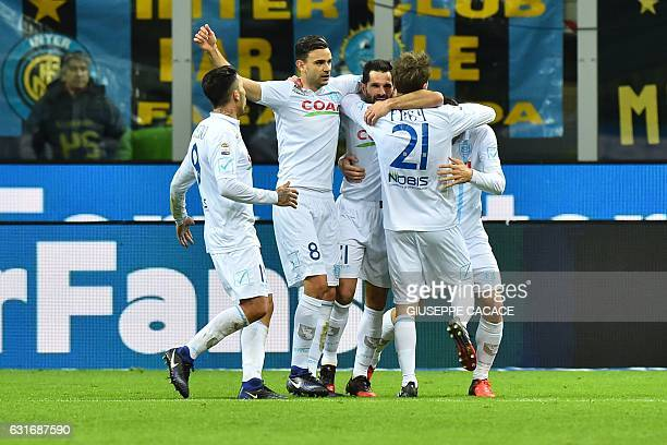Chievo's forward from Italy Sergio Pellissier celebrates after scoring a goal during the Italian Serie A football match Inter Milan vs Chievo at 'San...