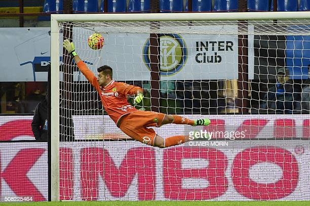 TOPSHOT Chievo's goalkeeper from Italy Andrea Seculin makes a save during the Italian Serie A football match Inter Milan vs Chievo Verona on February...