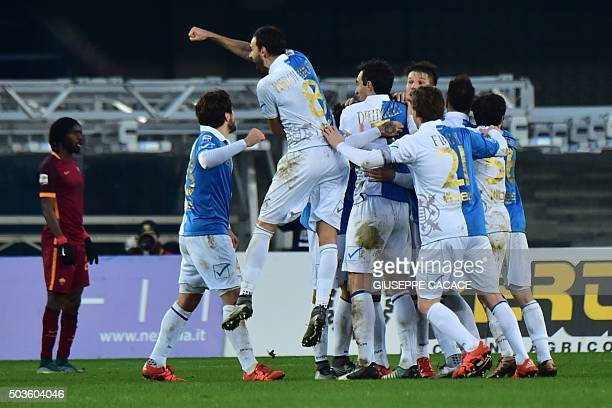 Chievo's midfielder from Italy Simone Pepe celebrates after scoring during the Italian Serie A football match between Chievo Verona and AS Roma at...
