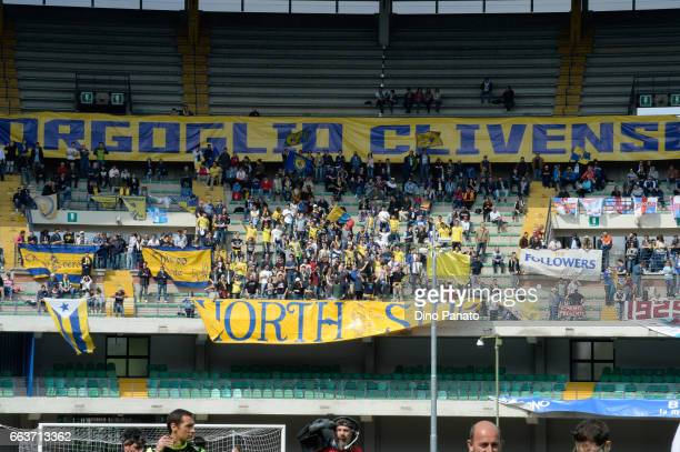 ChievoVerona fans shows their support during the Serie A match between AC ChievoVerona and FC Crotone at Stadio Marc'Antonio Bentegodi on April 2...