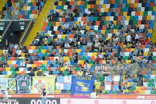 ChievoVerona fans shows their support during the Serie A match between Udinese Calcio and AC Chievo Verona at Friuli Stadium on August 20 2017 in...
