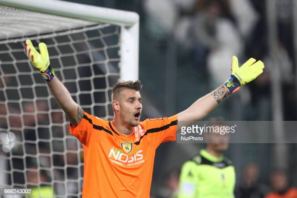 ChievoVerona goalkeeper Andrea Seculin during the Serie A football match n31 JUVENTUS CHIEVOVERONA on at the Juventus Stadium in Turin Italy