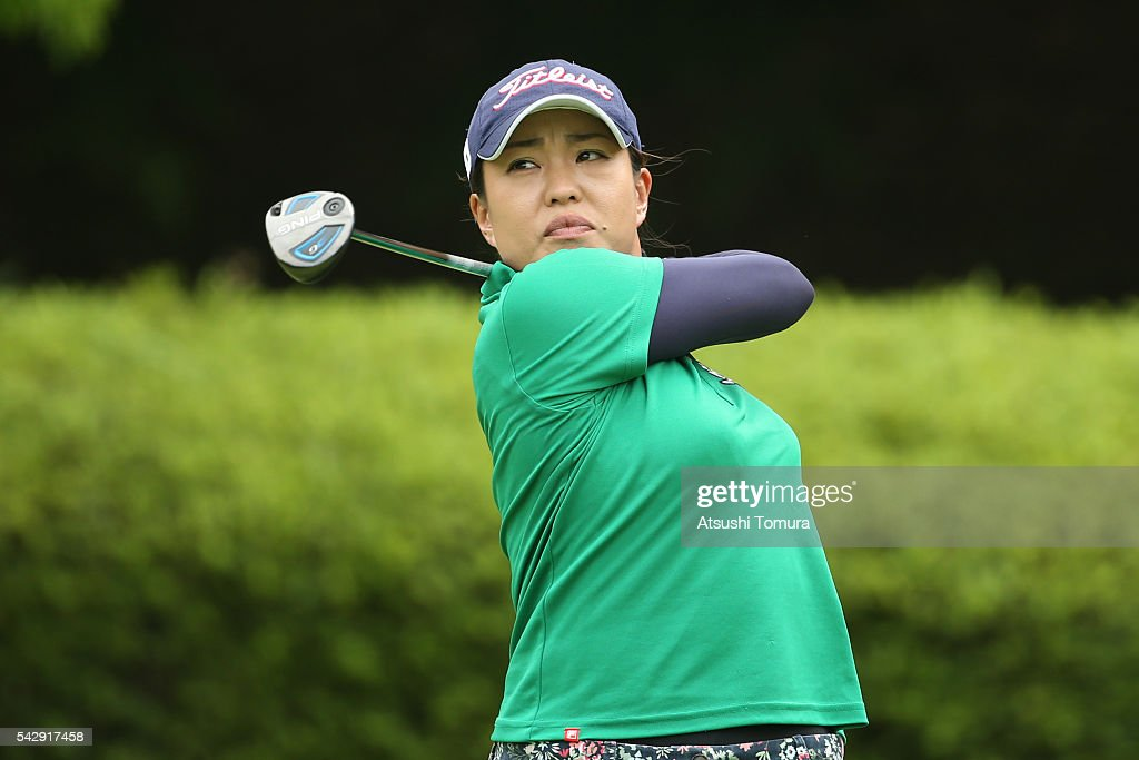 Chiharu Tsunekawa of Japan hits her tee shot on the 2nd hole during the third round of the Earth Mondamin Cup at the Camellia Hills Country Club on June 25, 2016 in Sodegaura, Japan.