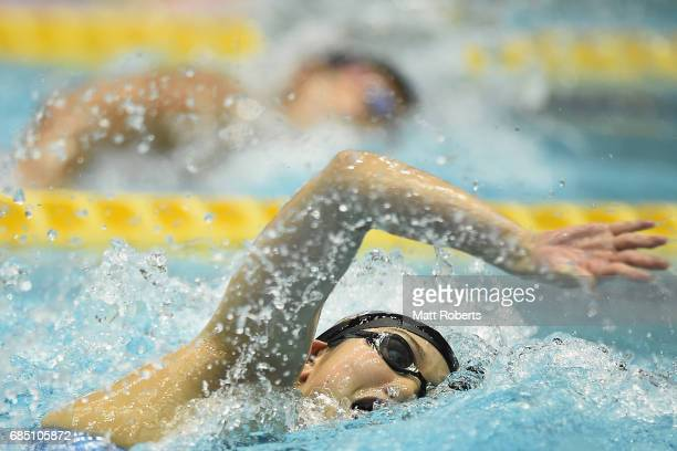 Chihiro Igarashi of Japan competes in 200m Freestyle Final during the Japan Open 2017 at Tokyo Tatsumi International Swimming Pool on May 19 2017 in...