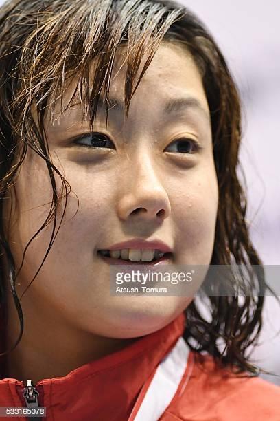 Chihiro Igarashi of Japan smiles during the Japan Open 2016 at Tokyo Tatsumi International Swimming Pool on May 21 2016 in Tokyo Japan