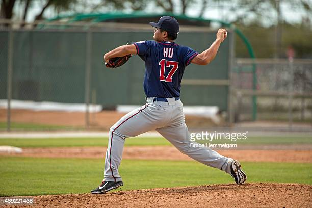ChihWei Hu of the Minnesota Twins pitches during minor league spring training on March 15 2015 at the CenturyLink Sports Complex in Fort Myers Florida