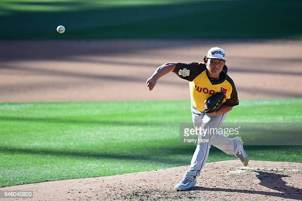ChihWei Hu of the Tampa Bay Rays and the World Team pitches during the SiriusXM AllStar Futures Game at PETCO Park on July 10 2016 in San Diego...