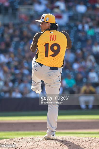 ChihWei Hu of the Tampa Bay Rays and World Team pitches during the SiriusXM AllStar Futures Game Petco Park on Tuesday July 10 2016 in San Diego...