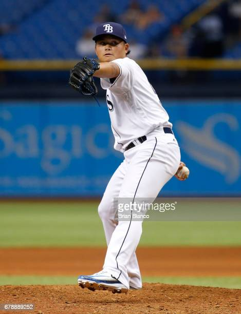 ChihWei Hu of the Tampa Bay Rays pitches during the ninth inning of a game against the Miami Marlins on May 4 2017 at Tropicana Field in St...