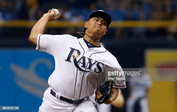 ChihWei Hu of the Tampa Bay Rays pitches during the second inning of game two of a double header against the Oakland Athletics on June 10 2017 at...