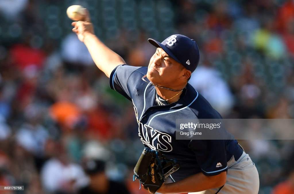 Chih-Wei Hu #58 of the Tampa Bay Rays pitches in the seventh inning against the Baltimore Orioles at Oriole Park at Camden Yards on September 24, 2017 in Baltimore, Maryland.