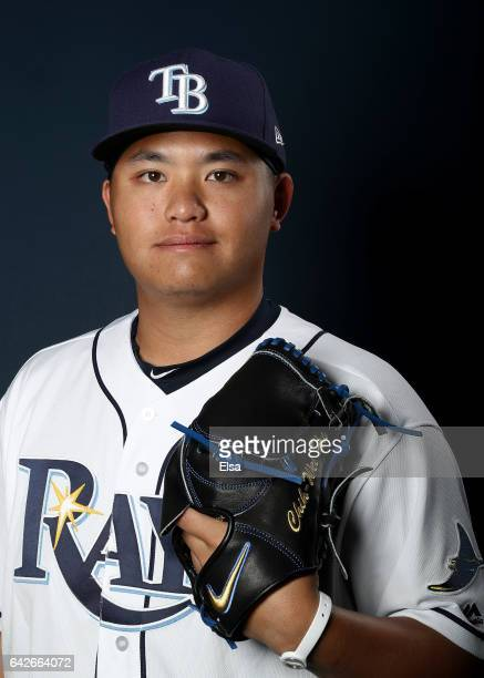 ChihWei Hu of the Tampa Bay Rays poses for a portrait during the Tampa Bay Rays photo day on February 18 2017 at Charlotte Sports Park in Port...