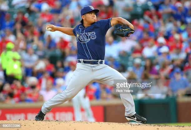 ChihWei Hu of the Tampa Bay Rays throws in the third against the Texas Rangers inning at Globe Life Park in Arlington on May 30 2017 in Arlington...