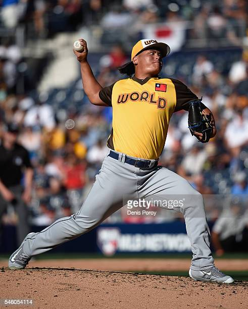 ChihWei Hu of the World Team pitches during the SiriusXM AllStar Futures Game at PETCO Park on July 10 2016 in San Diego California