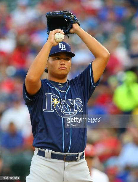 ChihWeiHu of the Tampa Bay Rays throws in the first inning against the Texas Rangers at Globe Life Park in Arlington on May 30 2017 in Arlington Texas