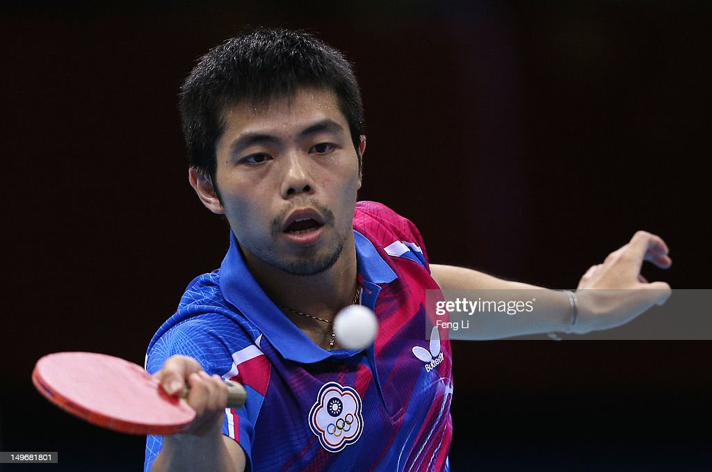 Chih-Yuan Chuang of Chinese Taipei in action during Men's Singles Table Tennis Bronze medal match against Dimitrij Ovtcharov of Germany on Day 6 of the London 2012 Olympic Games at ExCeL on August 2, 2012 in London, England.