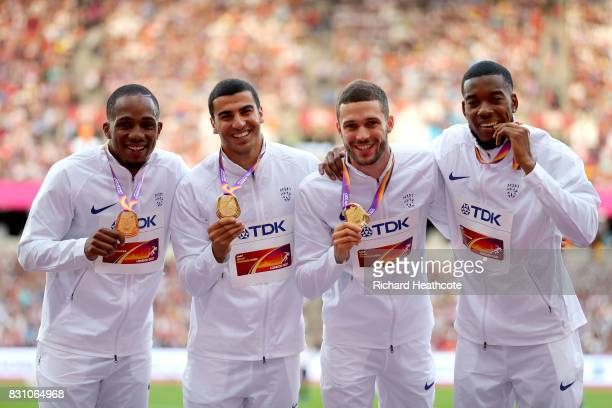 Chijindu Ujah Adam Gemili Daniel Talbot and Nethaneel MitchellBlake of Great Britain gold pose with their medals for the Men's 4x100 Metres Relay...