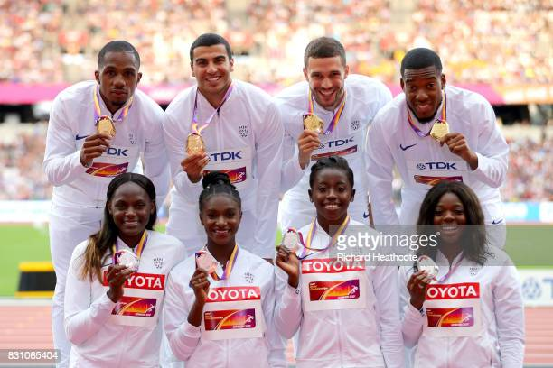 Chijindu Ujah Adam Gemili Daniel Talbot and Nethaneel MitchellBlake of Great Britain gold in the Men's 4x100 Metres Relay pose with Asha Philip...
