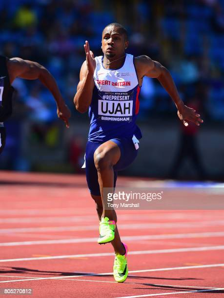 Chijindu Ujah competes in the Mens 100m semi final during the British Athletics World Championships Team Trials Day One at Birmingham Alexander...