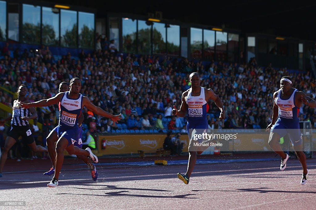 Chijindu Ujah (L) of Enfield & Haringey Harriers wins the Men's 100m Final from <a gi-track='captionPersonalityLinkClicked' href=/galleries/search?phrase=James+Dasaolu&family=editorial&specificpeople=7118567 ng-click='$event.stopPropagation()'>James Dasaolu</a> (2R) of Croydon and Harry Aikines- Aryeetey (R) of Sutton & District during day three of the Sainsbury's British Championships at Birmingham Alexander Stadium on July 5, 2015 in Birmingham, England.