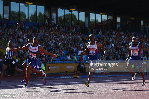 Chijindu Ujah of Enfield Haringey Harriers wins the Men's 100m Final from James Dasaolu of Croydon and Harry Aikines Aryeetey of Sutton District...