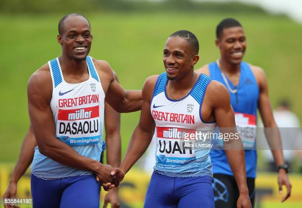 Chijindu Ujah of Great Britain and James Dasaolu of Great Britain shake hands after Mens 100m race during the Muller Grand Prix Birmingham meeting at...