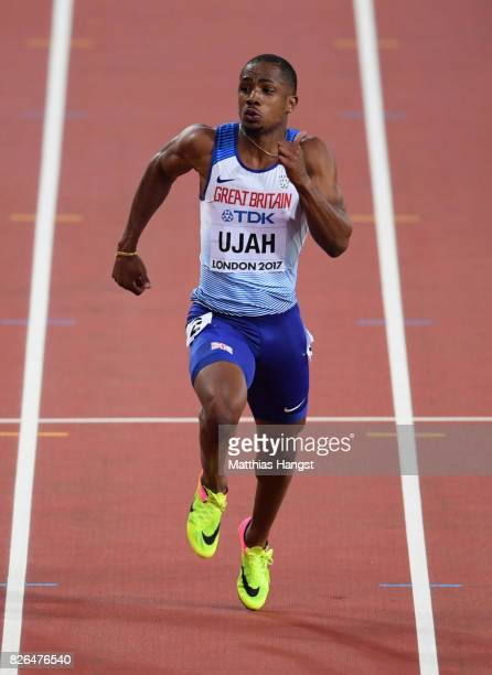Chijindu Ujah of Great Britain competes in the Men's 100 metres during day one of the 16th IAAF World Athletics Championships London 2017 at The...