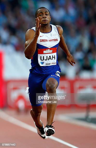 Chijindu Ujah of Great Britain in action during his mens 100m heat on Day One of the Muller Anniversary Games at The Stadium Queen Elizabeth Olympic...