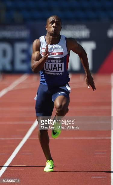 Chijindu Ujah of Great Britain in the Mens 100m Semi Final during Day One British Athletics World Championships Team Trials at Birmingham Alexander...