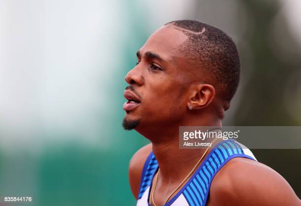 Chijindu Ujah of Great Britain looks on after the Mens 100m race during the Muller Grand Prix Birmingham meeting at Alexander Stadium on August 20...