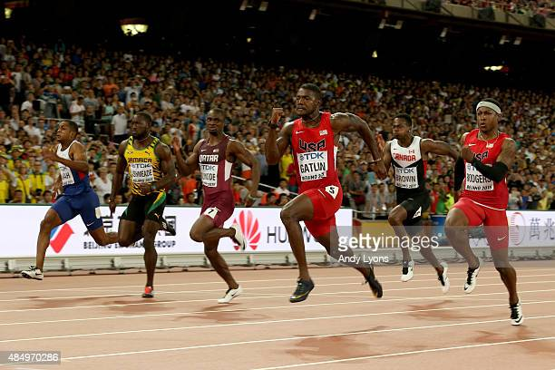 Chijindu Ujah of Great Britain Nickel Ashmeade of Jamaica Femi Ogunode of Qatar Justin Gatlin of the United States and Mike Rodgers of the United...