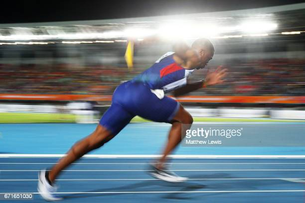 Chijindu Ujah of Great Britain runs in heat three of the Men's 4 x 100 Meters Relay during the IAAF/BTC World Relays Bahamas 2017 at Thomas Robinson...