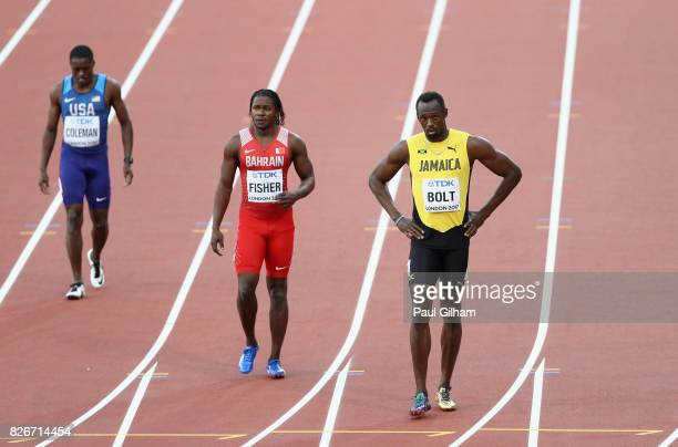 Chijindu Ujah of Great Britain Usain Bolt of Jamaica Andrew Fisher of Bahrain react after the Men's 100 metres semifinals during day two of the 16th...