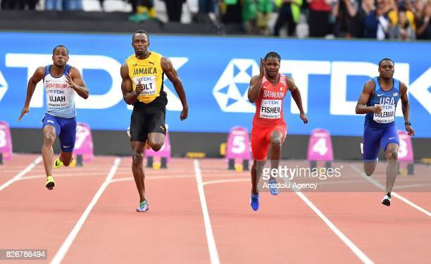Chijindu Ujah of Great Britain Usain Bolt of Jamaica Andrew Fisher of Bahrain and Christian Coleman of USA compete in the men's 100 meters semi final...