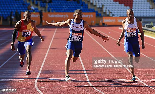 Chijindu Ujah of Great Britain wins the men's 100m during day three of the Sainsbury's British Championships at Alexander Stadium on July 5 2015 in...