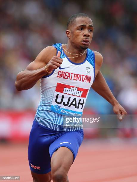 Chijindu Ujah of Great Britain wins the Mens 100m race during the Muller Grand Prix Birmingham meeting at Alexander Stadium on August 20 2017 in...