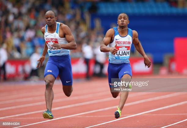 Chijindu Ujah of Great Britain wins the Mens 100m race from James Dasaolu of Great Britain during the Muller Grand Prix Birmingham meeting at...