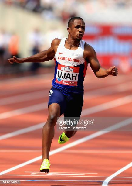 Chijindu Ujah of Great Britain wins the100m during the Muller Anniversary Games at London Stadium on July 9 2017 in London England